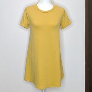 Forever 21 Mini T-Shirt Dress Mustard Gold Sz Med